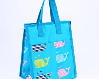 Blue Whale Monogram Lunch Bag | Monogram Lunch Box | Back to School | Birthday Gift | Kids Lunch Bag | Adult Lunch Bag
