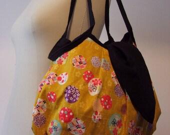 "Handbag ""Eawase - 絵合わせ"" 100% Japanese cotton fabric."
