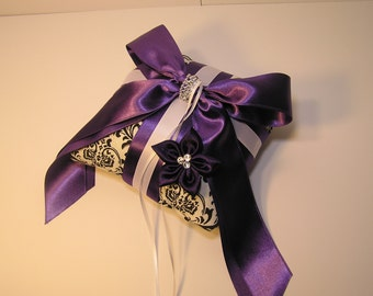 Wedding flower damask and purple ring bearer pillow -Custom order.