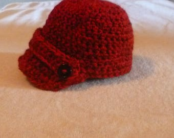 Infant Newsboy Hat Crochet Baby Newsboy Hat Red Photo Prop