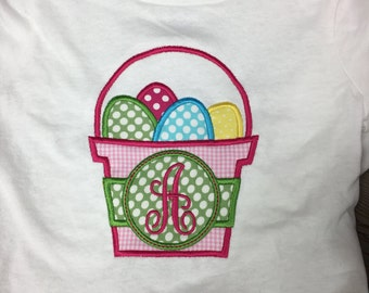 Personalized Easter Shirt/ Monogram Easter Basket Shirt/ Initial Easter Shirt/ Applique Easter Shirt/ Embroidered Easter Shirt