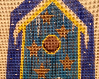 "Handpainted needlepoint canvas ""Star Studded Birdhouse"""
