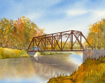 Black Bridge in fall - watercolour - watercolour giclee print - Hespeler - Cambridge - river - bridge - watercolour print