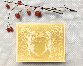 Set of Four Handmade Greeting Cards: Box Set Linocut Card Set Handmade Card Blank Cards Lino Print Linoleum Block Print Goat Art Gold Cards