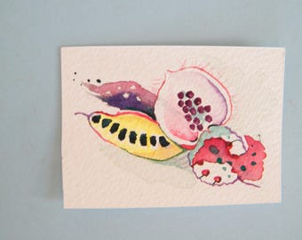 Abstract art,  original watercolor,  abstract aceo,  nature inspired,  seed pod abstract,  miniature painting