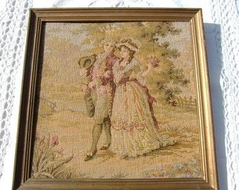 French Vintage boudoir Tapestry, Wall Hanging marie antoinette romantic scene couple of lovers,framed tapestry