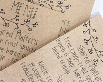 Wedding menu cards - kraft menu cards - rustic menu cards