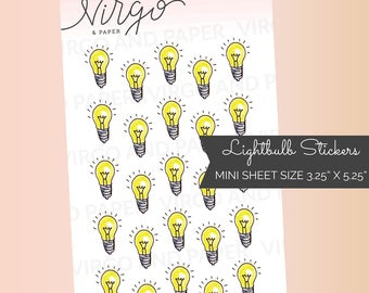 MINI Lightbulbs Idea Brainstorming Hand Drawn Planner Stickers (Perfect for your Personal Size Planner or traveler's notebook) MILI