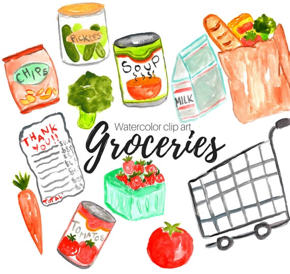 groceries clipart watercolor clip art shopping clipart rh etsy com grocery shopping clipart black and white woman grocery shopping clipart