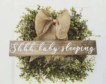 Shhh...baby sleeping sign Welcome Sign Reversible Sign Rustic Hand Painted Stained