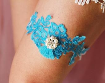 Wedding Garter Bridal Garter Belt - SOMETHING BLUE Garter - Toss Garter - Sky Blue Garter - Tassel Garter Vintage Inspired Lace Garter