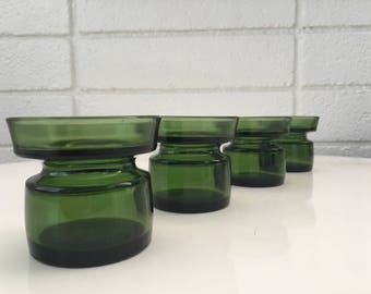Vintage Dansk Designs Ltd Green Glass Votives (Jens Quistgaard)