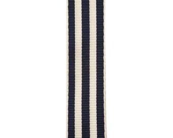 "7/8"" - Navy Carnival Stripe Grosgrain Ribbon - Navy & White Stripes - Offray"