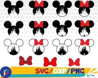 Disney castle svg,png,dxf/Mickey svg,png,dxf/Minnie svg,png,dxf for Silhouette,Cricut,Design,Print and any more