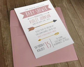 Baby Girl Shower Invitation - Girls Adventure Arrows