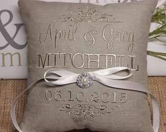Ring Bearer Pillow, embroidered ring bearer pillow, custom ring bearer pillow, ring pillow, wedding pillow, Mr. & Mrs. ring bearer pillow