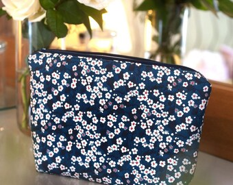 Wash Bag / Toiletry Bag in Liberty Print Fabric Mitsi (Teal Blue)
