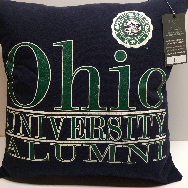 1804 Athens Ohio University Tshirt Pillow 16x16 Upcycled One