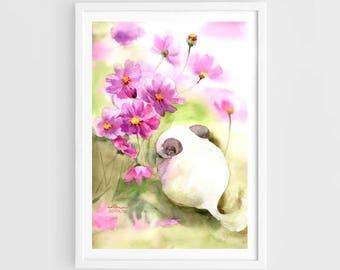 "Original watercolor,white chinchilla,cosmos flowers,relaxing chinchilla,original painting,8""3x11""7,,home decor"