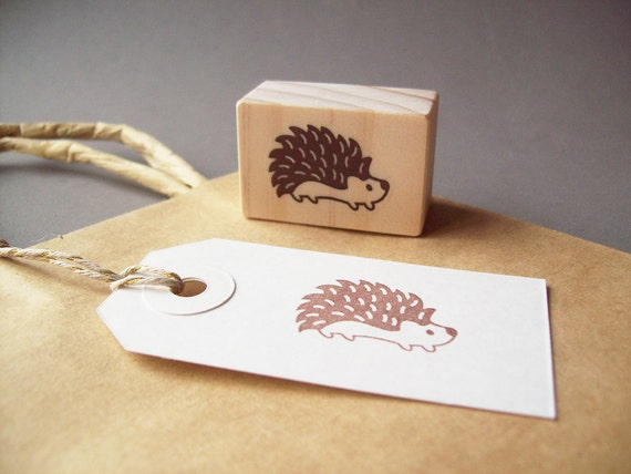 Hedgehog Stamp , Woodland Animal Forest Critter Hedgy Woodland Creatures Rubber Stamp