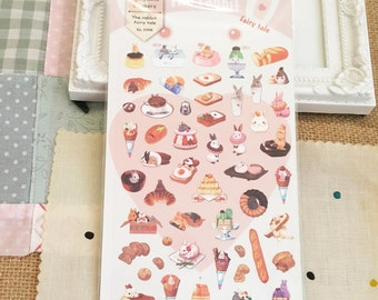 Stickers - 50 pcs of a rabbit and the food paper stickers (Animal collection)
