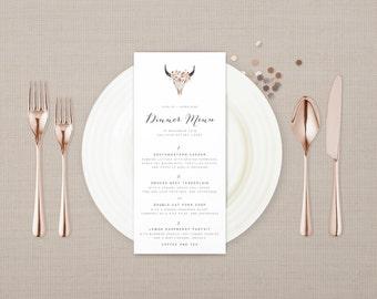 The Roxie Vintage Desert Floral Wedding Menu Card