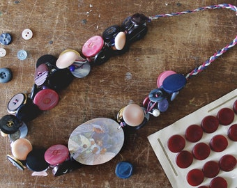 colorful necklace, buttons necklace, upcycled jewelry, recycled, polyshrink necklace, shrink plastic, handmade jewelry, sleeping beauty