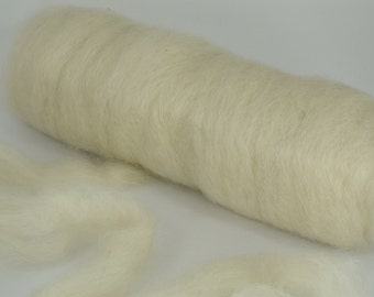 Home Grown Wensleydale Roving Spinning and Felting Fiber White ONE POUND