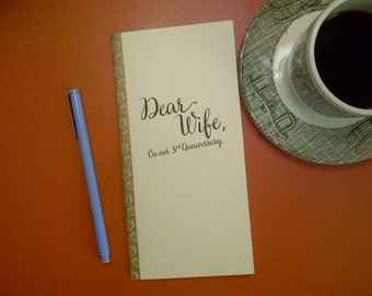 3rd Anniversary // Dear Wife On Our 3rd Anniversary Journal // Staple Bound Journal