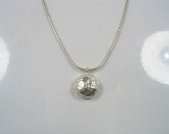 Silver hammered pendant- Silver Shine