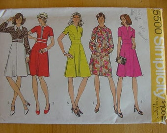 VINTAGE 1970s Simplicity Pattern 5500, Misses Dress with Princess Styling, Variations, Size 14, Bust 36, Uncut