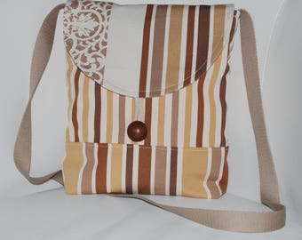 Handbag bag brown/beige/cream upholstery fabric
