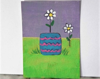 Mini Folk Art Painting, mixed media  TWO DAISIES, Folk Art Flower Daisy Art, ACEO 3.5 by 2.5 inches