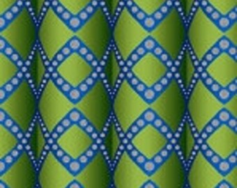 Jason Yenter Woven Ribbons Green Blue Silver In the Beginning Fabric 1 yard