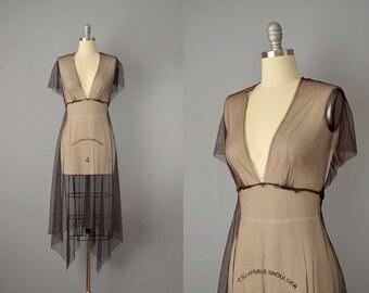 90s Dress // 1990's Chocolate Brown Net Asymmetrical Dress // S-M