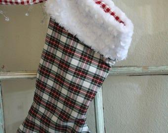 Christmas Plaid Stocking--White Fur Cuff #21