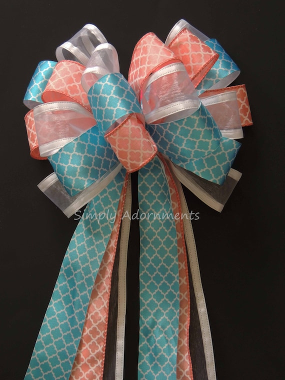 Coral Turquoise Wedding Pew Bow Coral Blue Quatrefoil Wedding Aisle Bow Beach wedding Aisle Bow Coral Blue Baby Shower Party Decor Gift Bow