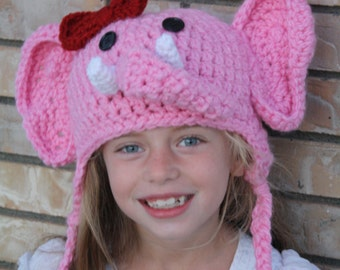 Pink Elephant Hat - Child Elephant Hat - Elephant Costume Hat - Baby Hats - Toddler Halloween Costume  - by JoJo's Bootique
