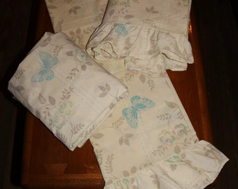 Vintage Wamsutta Double Fitted, Flat, and Pillowcase Butterfly Sheet Set