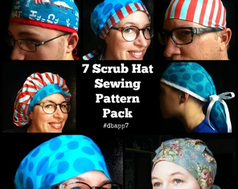Scrub Hat Sewing Pattern tutorial DIY 7 surgical scrub cap sewing instructions pdf Instant DOWNLOAD ONLY  #dpapp7
