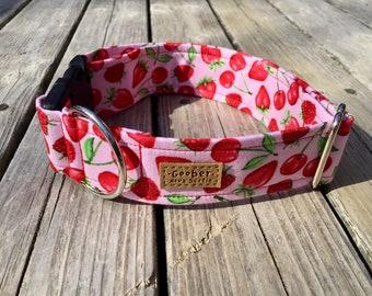 Mixed Berries Goober Dog Collar, Strawberries, Raspberries, Cherries, Pink, Red, Nova Scotia, Canada