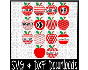 Teacher * Apple * Teacher Gift * Apple Monogram Cutting File - SVG & DXF Files - Silhouette Cameo/Cricut