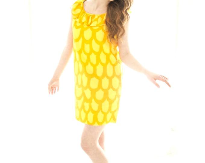 Vintage fish scales mini dress, yellow orange sleeveless tropical summer mermaid Hawaiian 1960s ruffles S M petite SALE