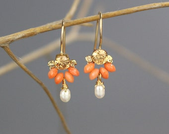 Champagne Earrings, Petite Dancer Earrings, Unique Gemstone Jewelry, Coral Earrings, Bridesmaid Gift, Elegant Earrings, Gift for Women