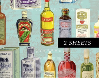 23 Vintage Apothecary Bottles-  2 A4 - Digital collage sheet - Instant Download