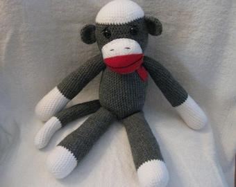 Crochet Gray and White Sock Monkey Large Stuffed Animal with Heart Nostalgic Christmas Gift Baby Shower Gift Free Shipping