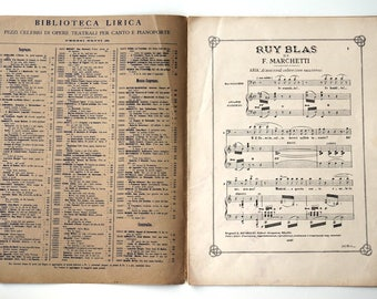 Antique Sheet Music 1910s, Aria for Baritone, Italian Opera RUY BLAS by Marchetti, singing and piano sheet music, for collectors