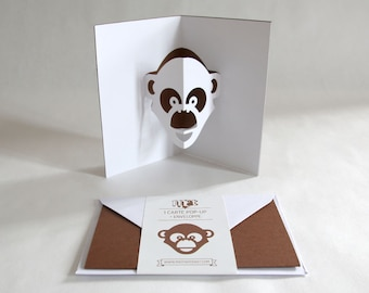 Pop-up Card // Monkey Brown // Creative Stationery, Everyday Gift Card, Birthday Card, Greeting Card, Decorative Card