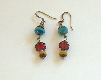 Turquoise, Gold, and Red Czech Bead Boho Style Dangle Earrings by Carol Wilson of Je t'adorn