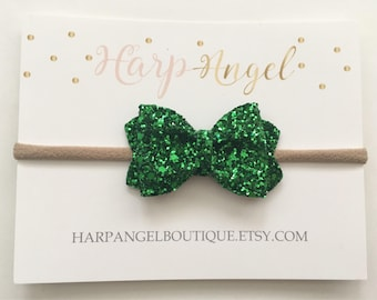Green Glitter Sparkle Headband or Hair Clip Newborn / Baby / Girls / Adult St Patricks Day Bow